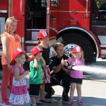 Fire Prevention Week Kids with Fire Fighter