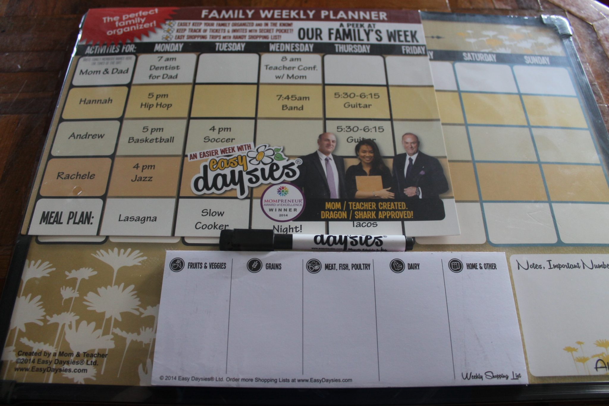 Easy Daysies Calendar