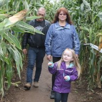 Alivia in Cornmaze with grandma papa