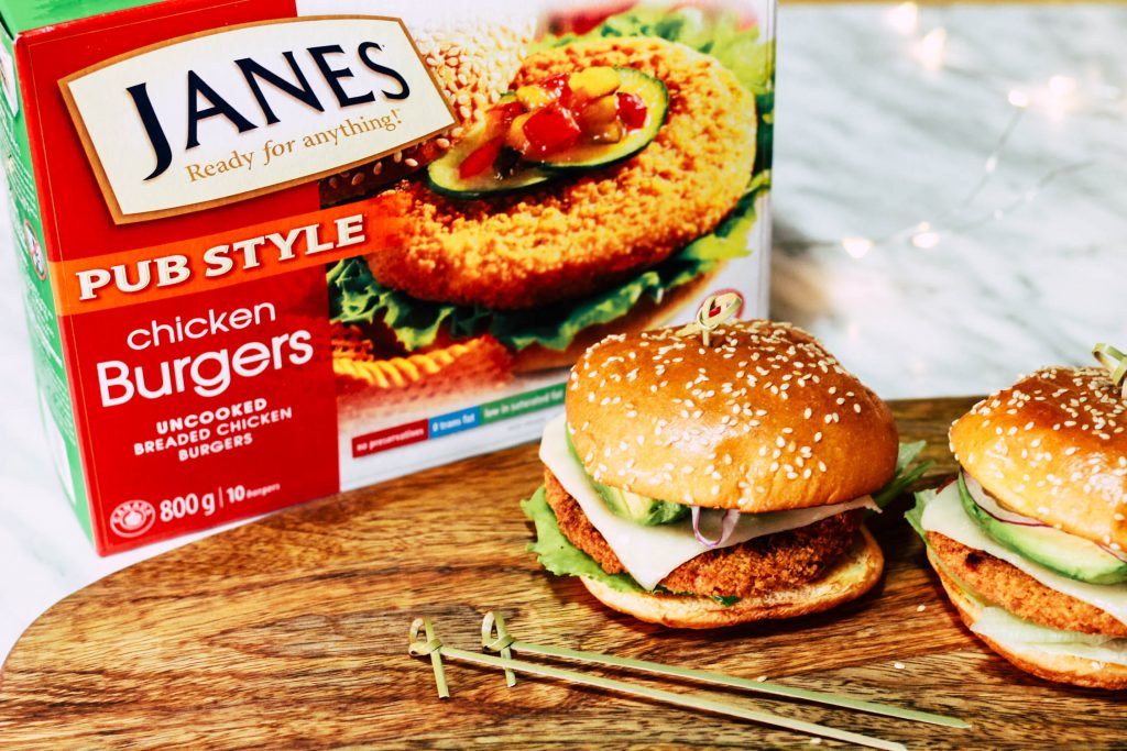 Weeknight California Chicken Burgers with Janes Pub Style Chicken Burgers