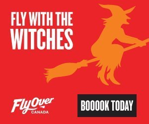 Flyover Canada witch flying book now logo