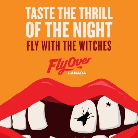 Flyover Canada witch with bugs in her teeth