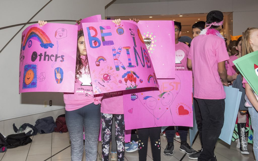 Pink Shirt Day Lift Each Other Up Kids with Signs