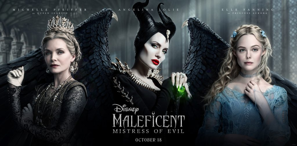 Maleficent Mistress of Evil poster with Michelle Pfeiffer, Angelina Jolie and Elle Fanning