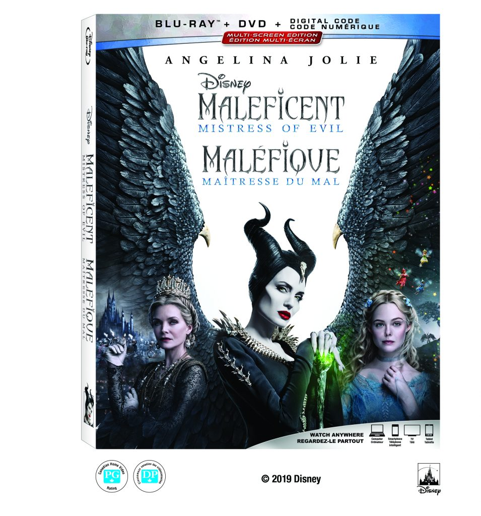 Maleficent Mistress of Evil DVD blu-ray box with Michelle Pfeiffer, Angelina Jolie and Elle Fanning