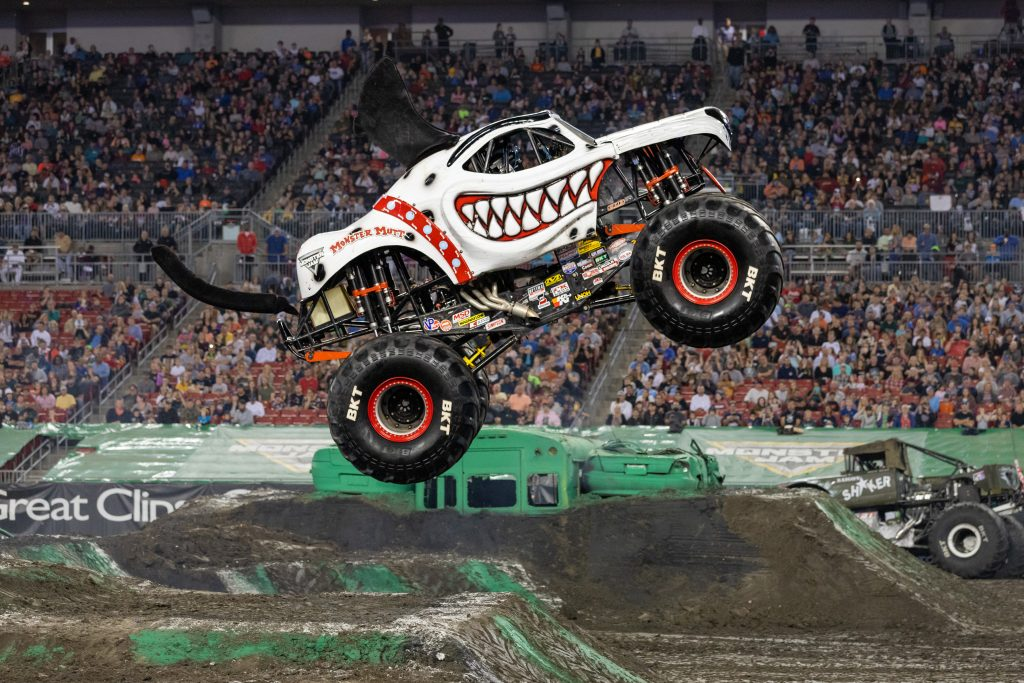 Monster Jam Monster Mutt Jumping Over Ramp