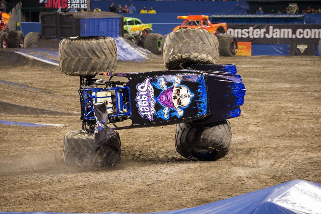 Monster Jam GraveDigger on side of wheels