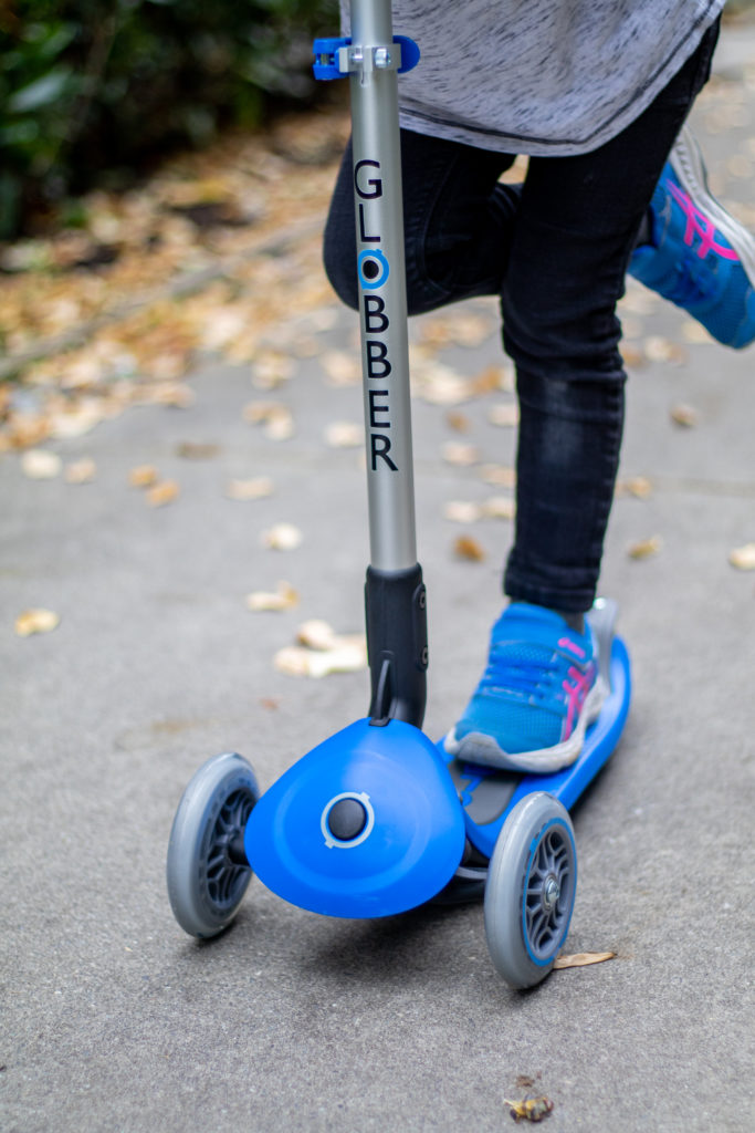 Globber Scooter Up Close with Blue Base and Grey Handle