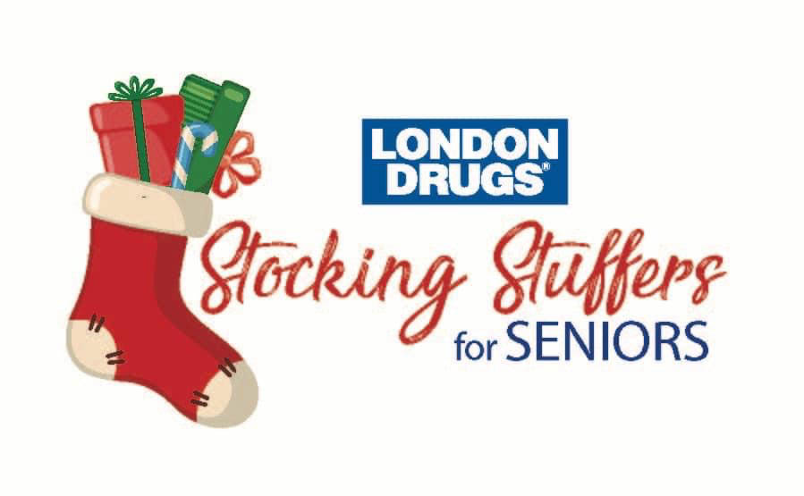 London Drugs Stocking Stuffers for Seniors logo with red stocking and presents