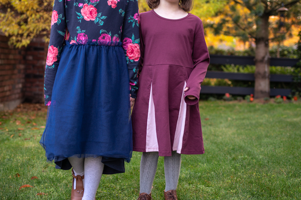 up close picture of two girls wearing skater dresses from pk beans