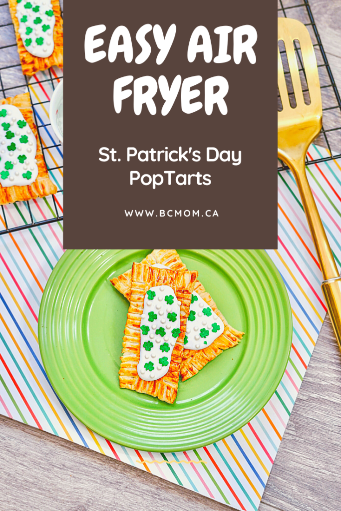 Easy Air Fryer Toaster Pastries PopTarts with St. Patricks day sprinkles