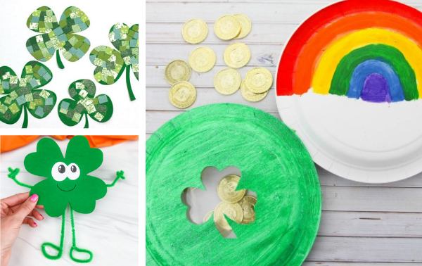 Collage of St. Patrick's Day crafts including stencil shamrocks and paper plate crafts