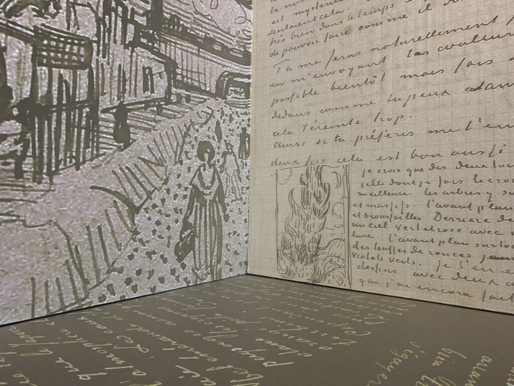 Corner photo showing black and white vincent van gogh photos mixed with a hand written letter